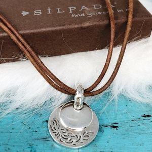 Silpada Double Disc Pendant N1129 Leather Necklace